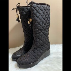 Tory Burch Gigi Quilted Boots Brown Winter Snow 8M